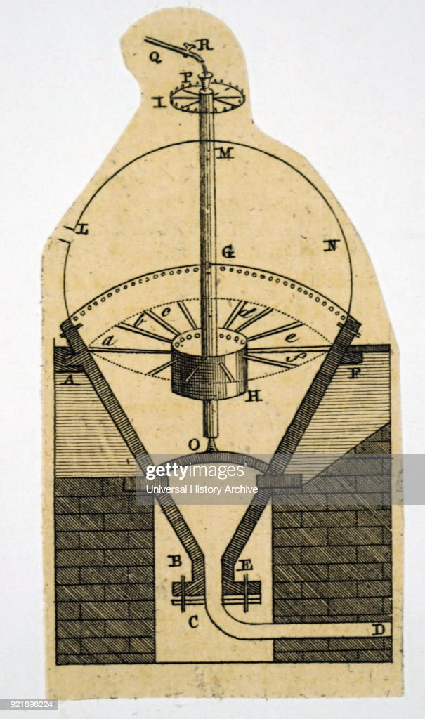Diagram depicting Bento de Moura Portugal's Steam Engine. Bento de Moura Portugal (1702-1766) a Portuguese aristocrat, a Knight of the Order of Christ and scientist. Dated 18th century.