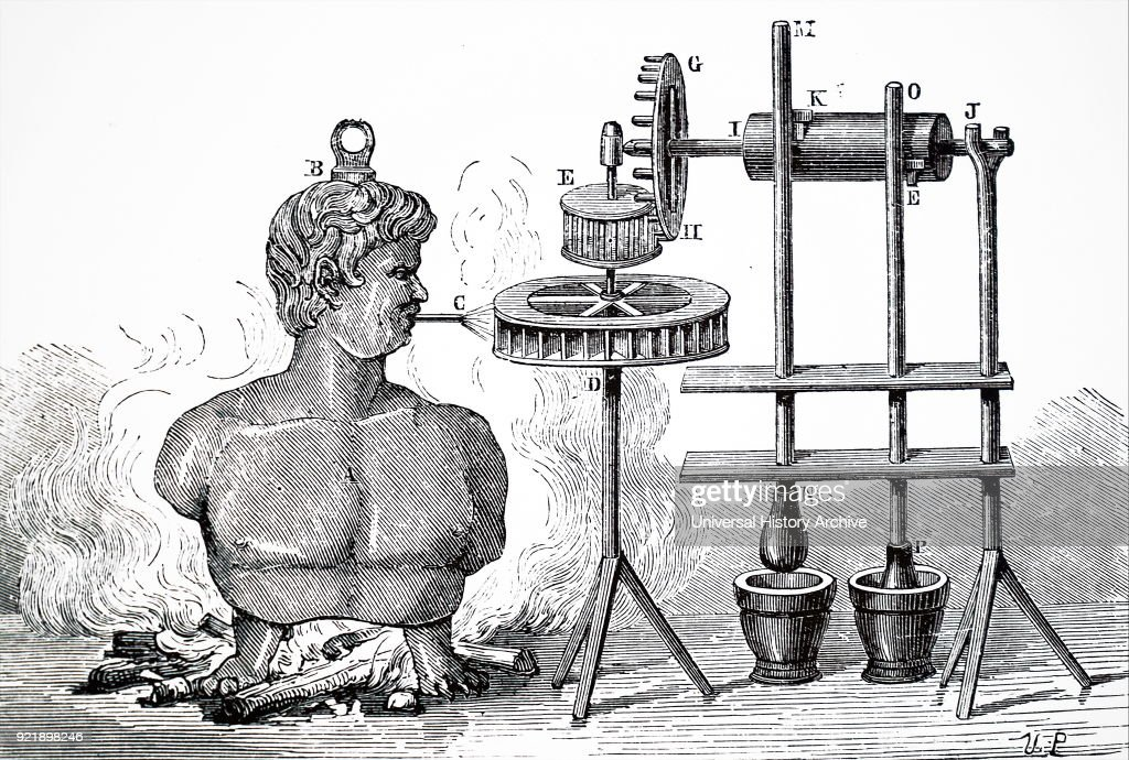 Diagram depicting Giovanni Branca's steam engine (1629) being used to work a stamping mill. Giovanni Branca (1571-1645) an Italian engineer and architect. Dated 19th century.