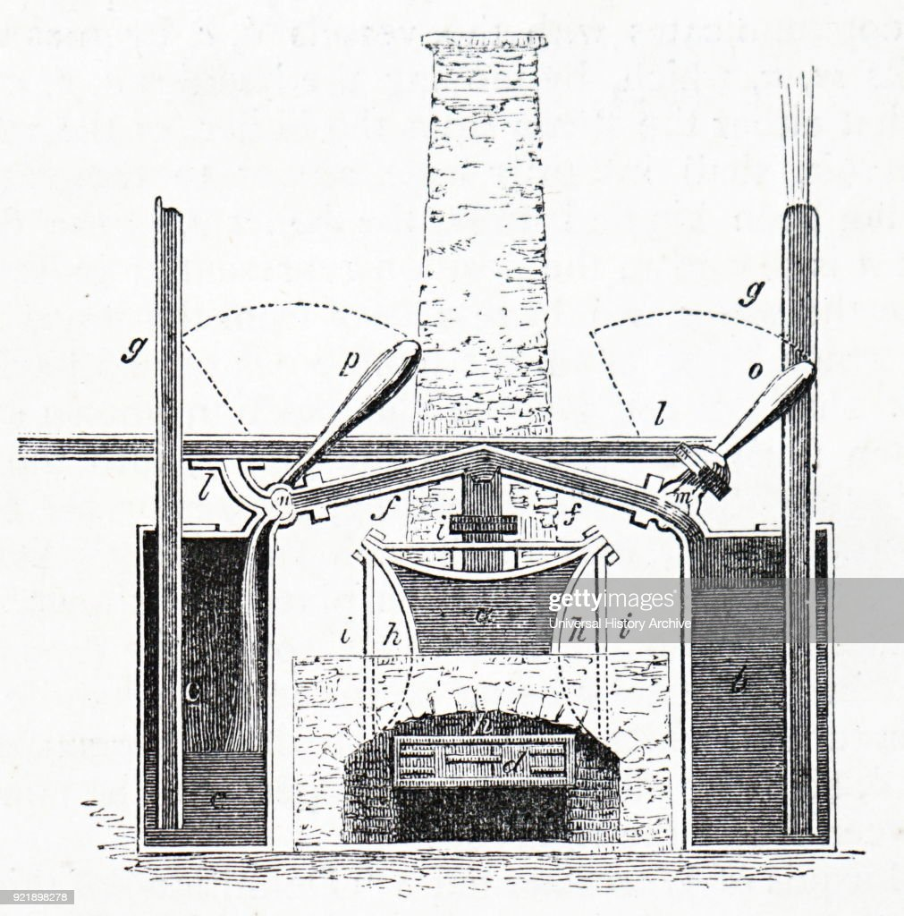 Diagram depicting the Marquess of Worcester's steam engine (1663) used for raising water. Dated 19th century.