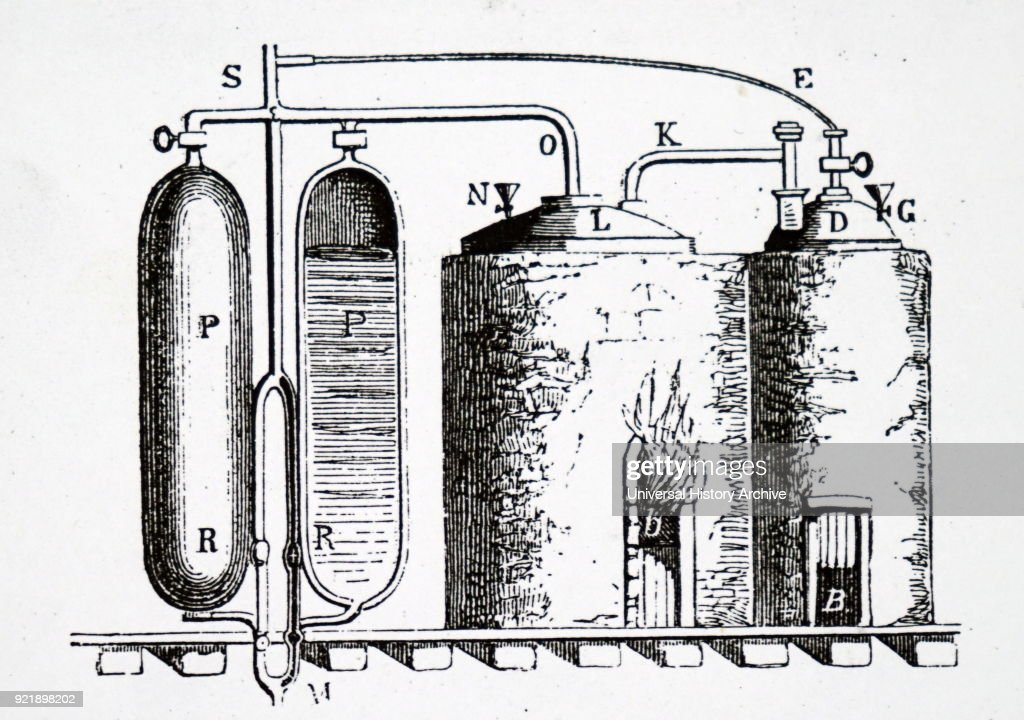 Diagram depicting Thomas Savery's steam engine of 1699 for pumping water from mines. Double furnace (right) with boilers, whose steam passes to cylinders (PP) It is next cooled, which causes partial vacuum (PP) that sucks up water through pipe M. Thomas Savery (1650-1715) an English inventor and engineer. Dated 19th century.