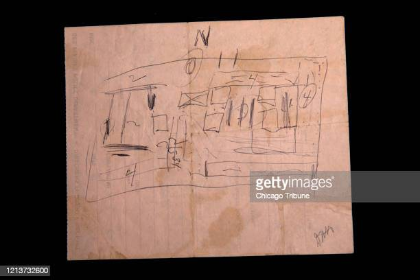 A diagram drawn by the serial killer John Wayne Gacy of the location of the bodies in the crawl space of his home is part of evidence from the 1980...