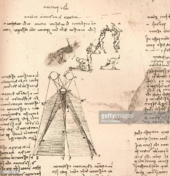 Diagram illustrating the theory of light and shade and sketches of figures illustrating the movements of the human body c1472c1519 From The Literary...