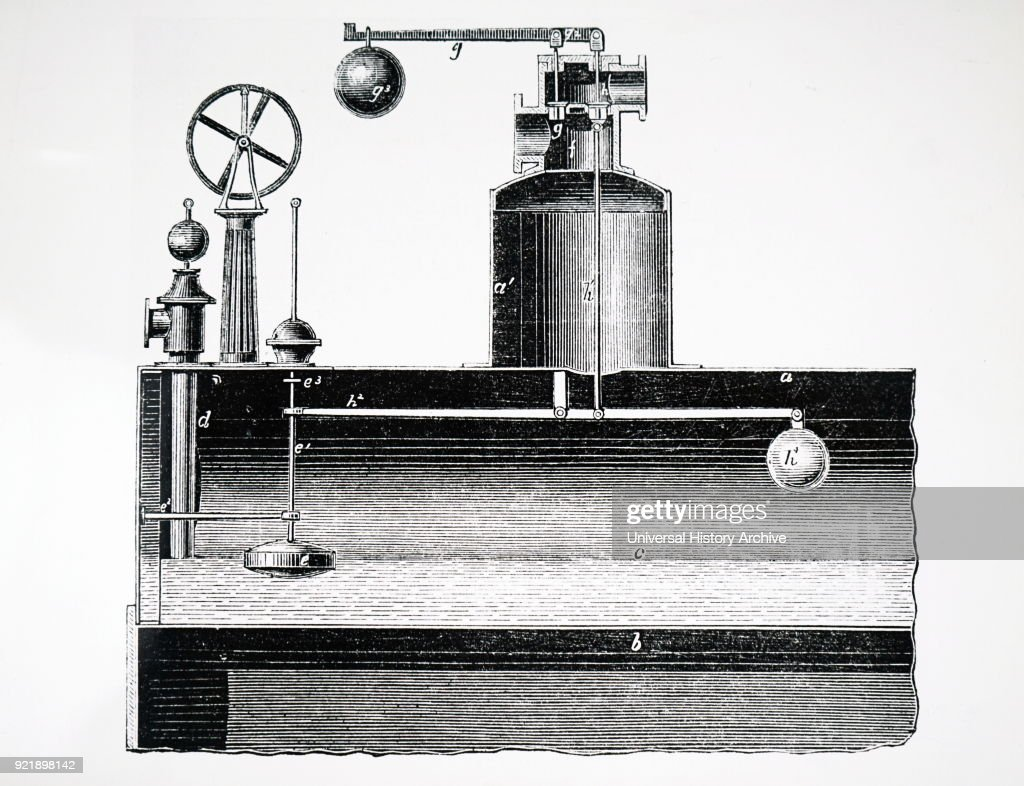 Diagram of a combustion steam valve designed by Thomas Wood of Manchester. If heavy weights are placed on outer valve, it acts as fulcrum and opens valve inside boiler, thus preventing explosions due to misuse. Dated 19th century.