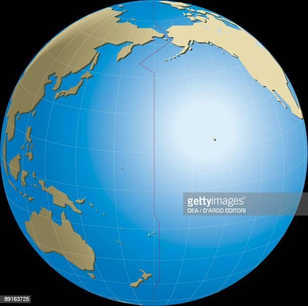 Diagram of Earths International Date Line opposite Prime meridian