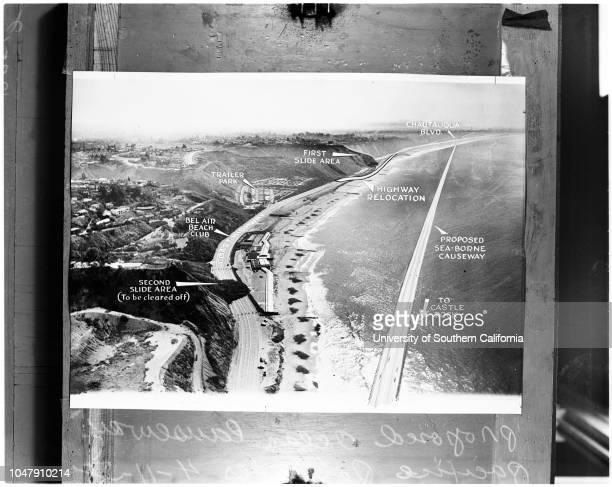 Diagram of proposed Ocean Causeway at Pacific Palisades after landslide 11 April 1958