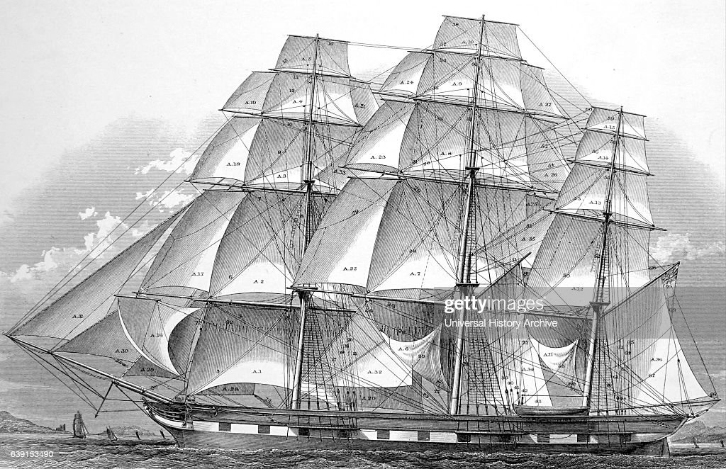 Diagram Of Sails And Running Rigging Of A Ship Pictures Getty Images
