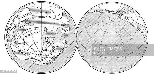 Diagram of the Earth during Carboniferous period Land unshaded Deep sea diagonal lines Shallow water horizontal lines From an article by Alfred...