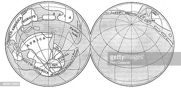 Diagram of the Earth during the Carboniferous period 1922 Land is represented by the unshaded areas deep sea by the areas shaded with diagonal lines...