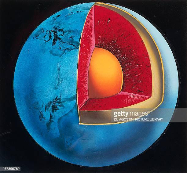 Diagram of the Earth's interior showing the crust the mantle and the core Colour illustration