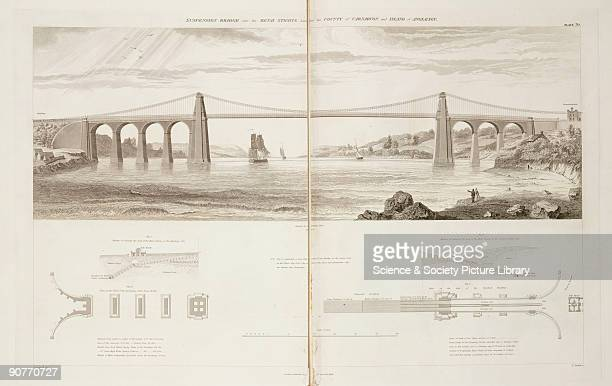 Diagram of the suspension bridge over the Menai Straits between Carnarvon on the right and the Isle of Anglesey Also shown manner of securing the...