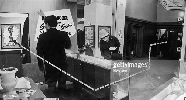 Diagram showing how the World Cup was stolen from the exhibition site in Westminster Central Hall, 22nd March 1966. The thief entered via the Matthew...