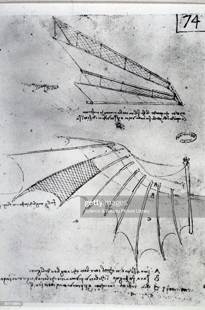 Designs by Leonardo da Vinci for the wings of a flying machine, 15th century. : News Photo