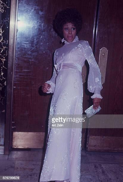 Diahann Carroll in a white beaded formal gown circa 1970 New York