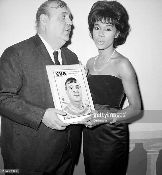Diahann Carroll presents Zero Mostel with the Cue Magazine Entertainer of the Year Award in 1963 for his performance in A Funny Things Happened On...