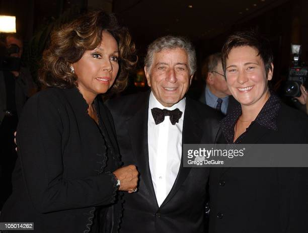 Diahann Carroll Tony Bennett and kd lang during An Evening To Remember Rosemary Clooney at Beverly Hilton Hotel in Beverly Hills California United...