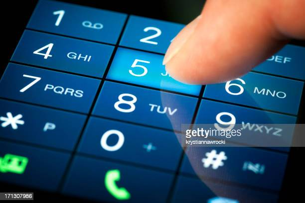 Dialing number on a touch-screen in blue