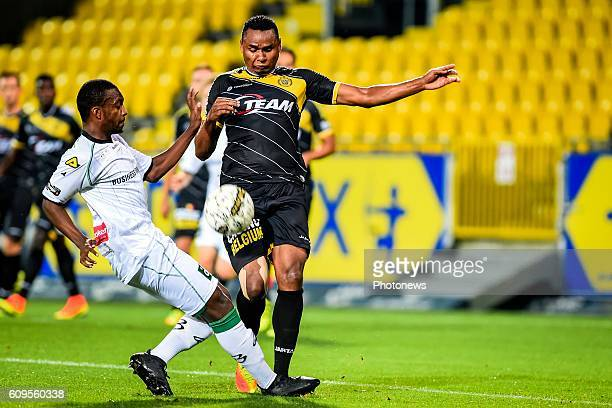 Diallo Amadou Tidiane and Jakson Avelino Coelho pictured during the 1/16e finals of the Croky Cup between Sporting Lokeren and Cercle Brugge in...