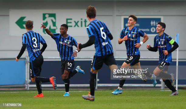 Diallo Traore Amad of Atalanta celebrates after scoring their third goal during the UEFA Youth League match between Manchester City and Atalanta at...