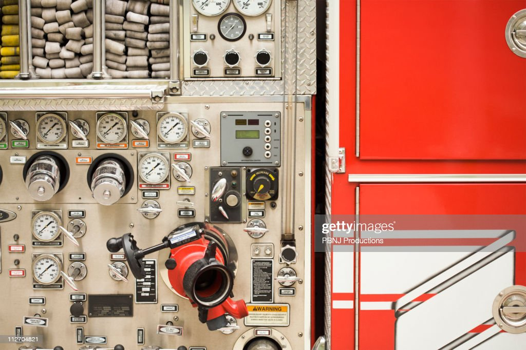 Dials on fire truck : Stock Photo