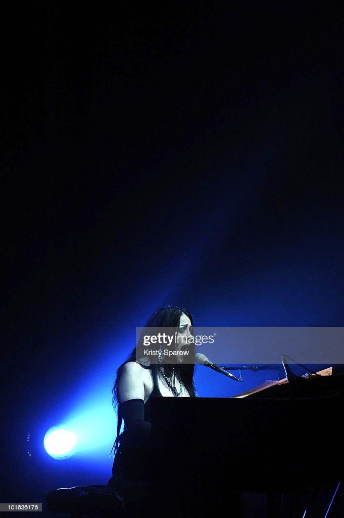 Diamanda Galas performs on stage during the Villette Sonique Festival at Grande Halle de La Villette on June 4, 2010 in Paris, France.