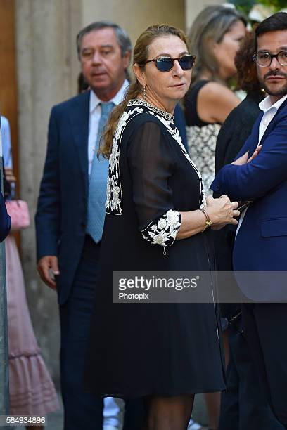 Diamante Marzotto and Gaetano Marzotto arrive at Marta Marzotto funeral at Church of Sant'Angelo on August 1 2016 in Milan Italy