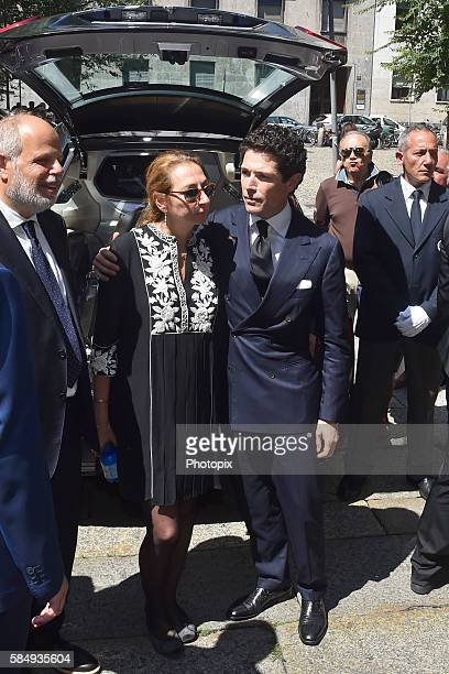 Diamante Marzotto and Matteo Marzotto leave the Marta Marzotto funeral at church of Sant'Angelo on August 1 2016 in Milan Italy