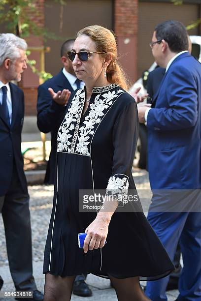 Diamante Marzotto arrives at Marta Marzotto funeral at church of Sant'Angelo on August 1 2016 in Milan Italy