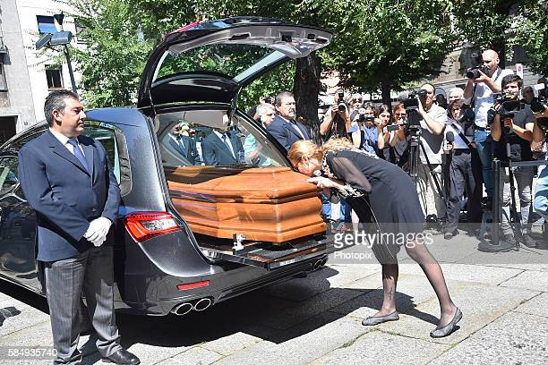 Diamante Marzotto leaves the Marta Marzotto funeral at church of Sant'Angelo on August 1 2016 in Milan Italy