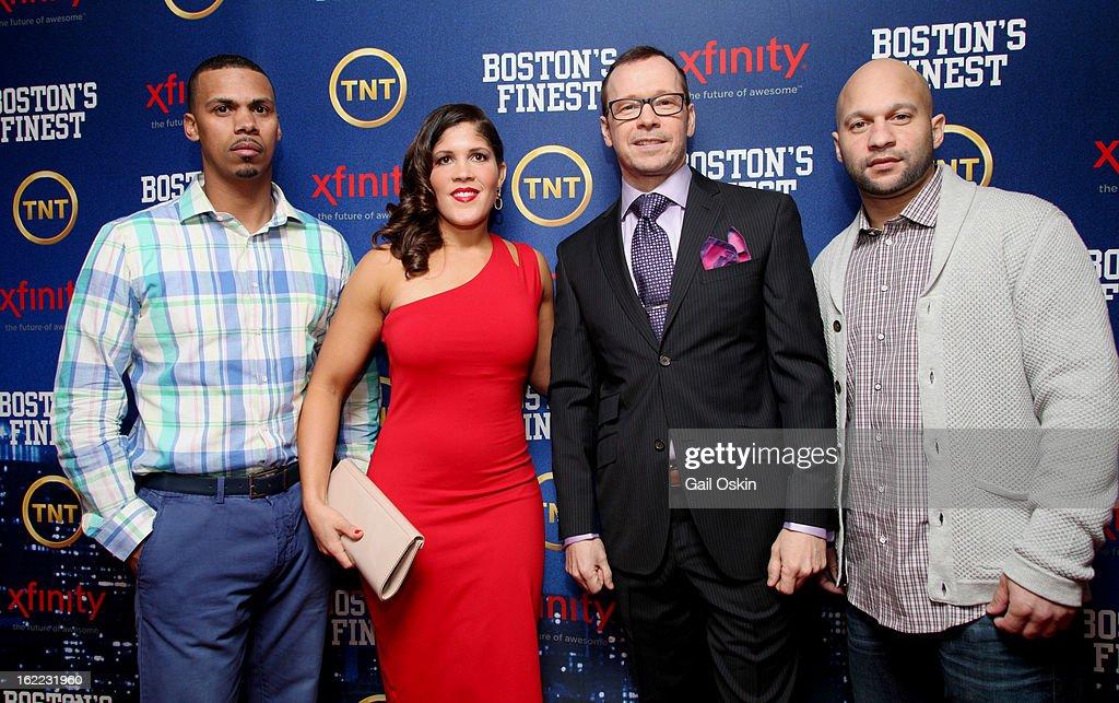 Diamantino Araujo, Jenn Penton, Donnie Wahlberg and Manny Canuto attend TNT's 'Boston's Finest' premiere screening at The Revere Hotel on February 20, 2013 in Boston, Massachusetts.