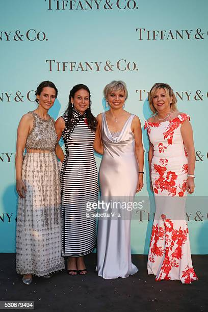 Diamara Leone Azzurra Caltagirone Florence Rollet and Raffaella Banchero attend Tiffany Co celebration of the opening of its new store in Rome at at...
