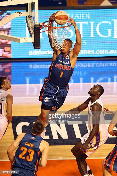 Diamon Simpson of the 36ers dunks the ball during the round three NBL match between Adelaide 36ers and the Sydney Kings at Distinctive Homes Dome on...