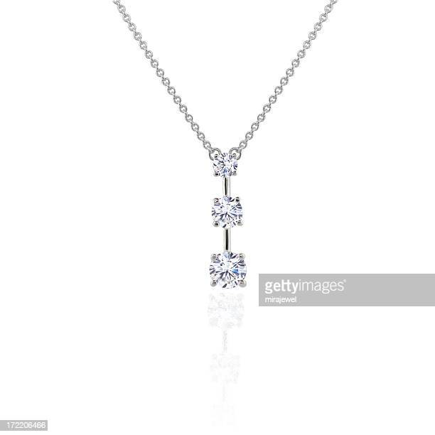 diamond 3 stone pendant - necklace stock pictures, royalty-free photos & images