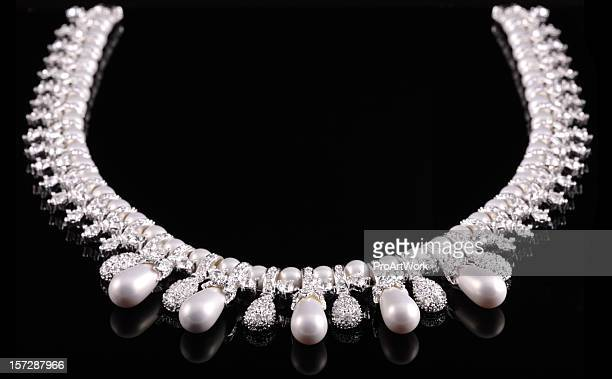diamond & pearl necklace - diamond necklace stock pictures, royalty-free photos & images