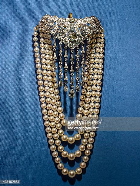 Diamond and pearl necklace by Cartier on display at the museum Hillwood Estate and Museum Board President Ellen Charles granddaughter of heiress...