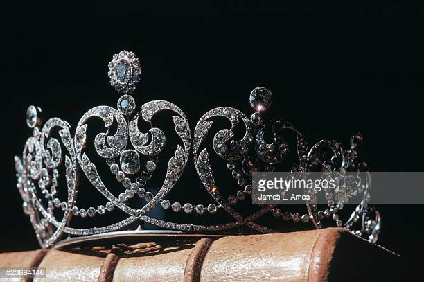 Diamond and Platinum Tiara Sitting on a Leather Bound Book
