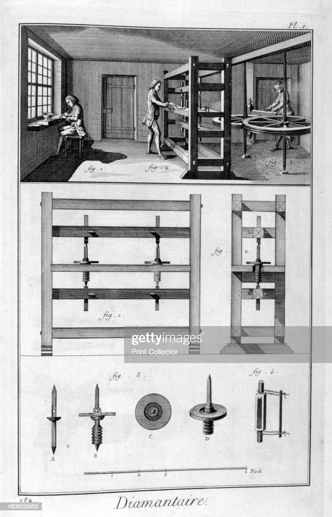 Diamond cutter, 1751-1777. : News Photo