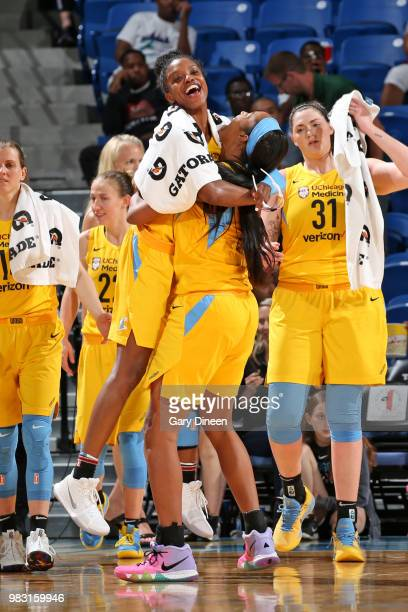 Diamond DeShields and Alaina Coates of the Chicago Sky react during the game against the Phoenix Mercury on June 24 2018 at the Allstate Arena in...