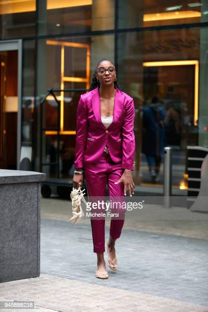 Diamond DeShields is on her way to attend the WNBA Draft 2018 on April 12 2018 at Nike New York Headquarters in New York New York NOTE TO USER User...