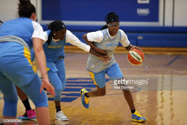 Diamond DeShields of the Chicago Sky handles the ball during practice on July 11, 2020 at IMG Academy in Bradenton, Florida. NOTE TO USER: User...