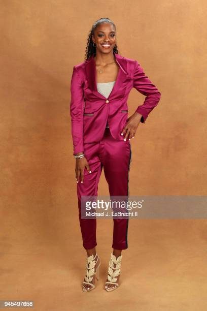 Diamond DeShields poses for a portrait after being selected number three overall by the Chicago Sky during the WNBA Draft on April 12 2018 in New...
