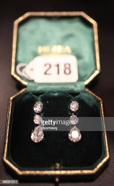 Diamond earring are displayed during a media preview for an auction which includes jewelry and other personal items belonging to Ruth and Bernard...
