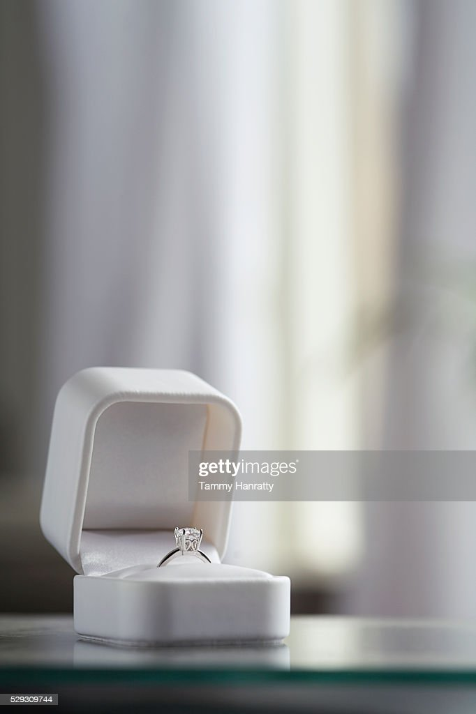 Diamond engagement ring in jewelry box : Stock Photo