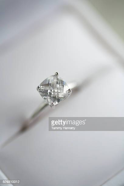 diamond engagement ring - engagement ring box stock photos and pictures