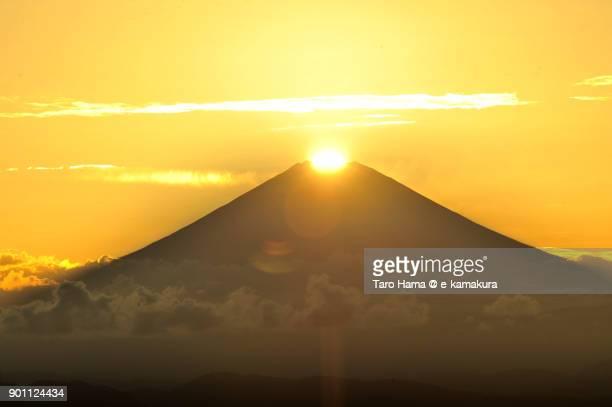 Diamond Fuji, evening sun on top of Mt. Fuji in Japan