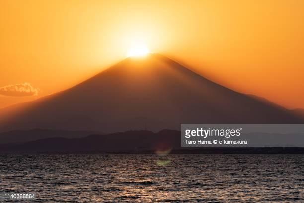 Diamond Fuji, the evening sun on the top of snow-capped Mt. Fuji in Japan