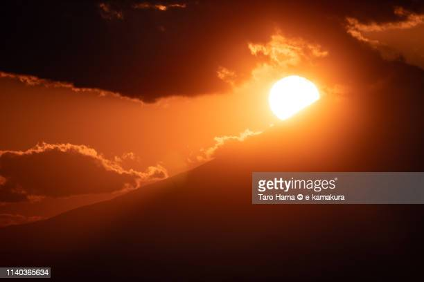 Diamond Fuji, the evening sun on top of Mt. Fuji in Japan