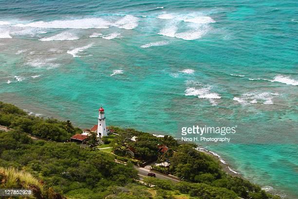diamond head lighthouse - honululu - o'ahu - diamond head stock photos and pictures