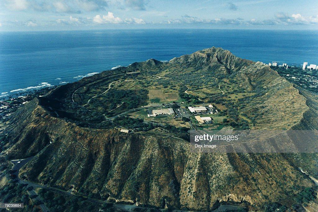 Diamond Head, Oahu, Hawaii, elevated view : Stock Photo