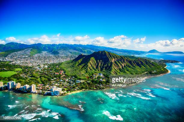 diamond head state park aerial - isole hawaii foto e immagini stock