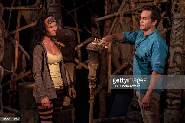 A Diamond In The Rough Jeff Probst extinguishes Stephanie Johnson's torch at Tribal Council on the fifth episode of Survivor Ghost Island airing...